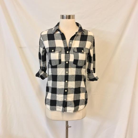 8a3d9b67 Mossimo Supply Co. Tops | Mossimo Black White Buffalo Plaid Flannel ...